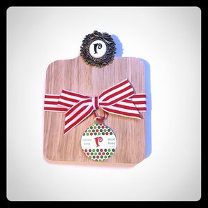 Mud Pie Holiday Initial gift Wood cutting Board